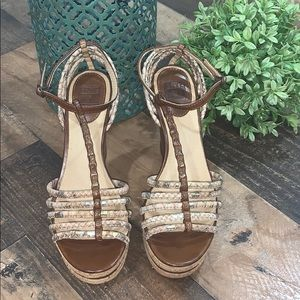 Frye sandal wedges leather shay strappy 7